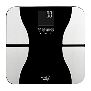 Smart Weigh Digital Bathroom BMI Body Fat Weight Scale, Tempered Glass, 440 pounds, Black
