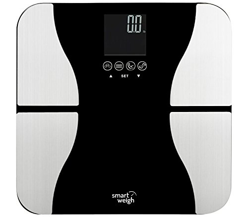 Smart Weigh Digital Bathroom Bmi Body Fat Weight Scale  Tempered Glass  440 Pounds  Black