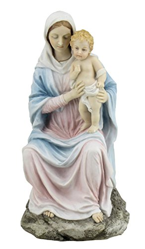 Religious Figurine Mother Mary Holding Baby Jesus 8 1/4 Inch Light Color Stone (Veronese Collection)