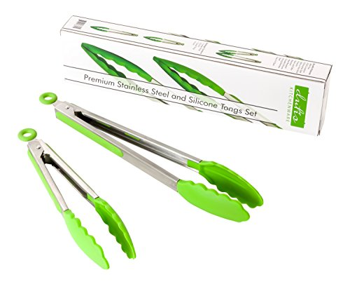 (Dishwasher Safe Tongs Set. A Beautiful 2 Piece Set Stainless Steel and Silicone Green Comes in 9