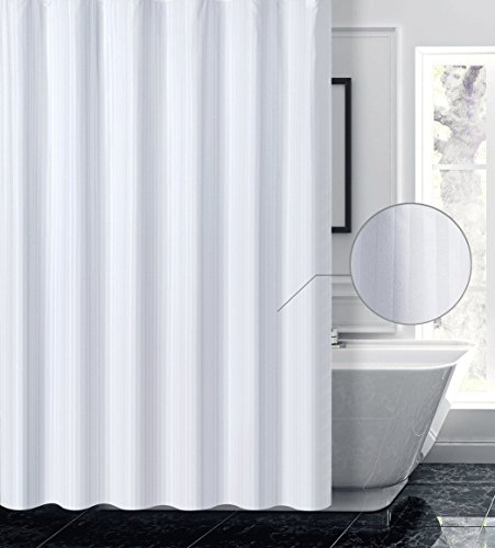 Valea Home Damask Stripe Fabric Shower Curtain Liner Water Repellent Soft Washable Polyester Bathroom Curtain, 72