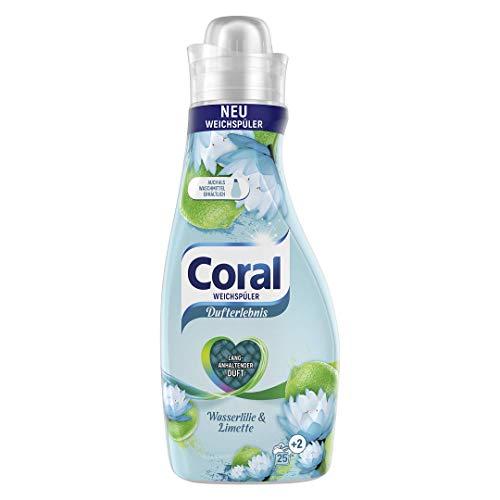 Coral Suavizante de aroma de lirio de agua y lima (para ropa fresca con aroma de lavado de larga duración 25 + 2 lavados), 1 unidad (1 x 675 ml)