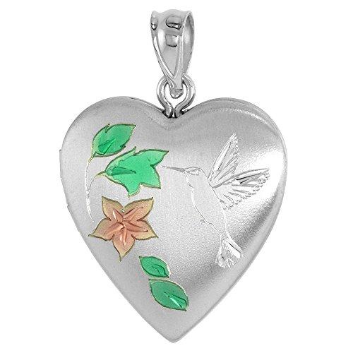 3/4 inch Sterling Silver Hummingbird Locket Heart shape, NO CHAIN