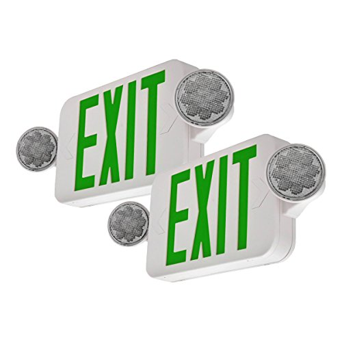 LFI Lights - 2Pack - UL Certified - Hardwired Green Compact Combo Exit Sign Emergency Egress Light - High Output - ()