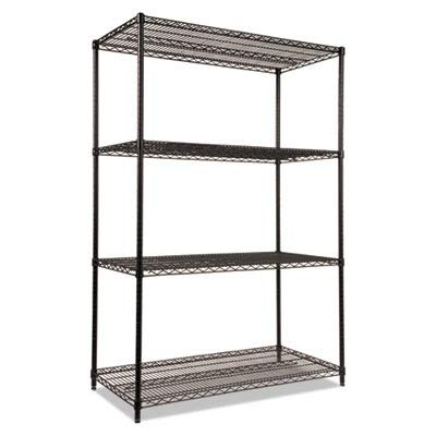 Alera ALESW504824BL Industrial Heavy-Duty Wire Shelving Starter Kit, 4-Shelf, 48w x 24d x 72h, Black from Alera