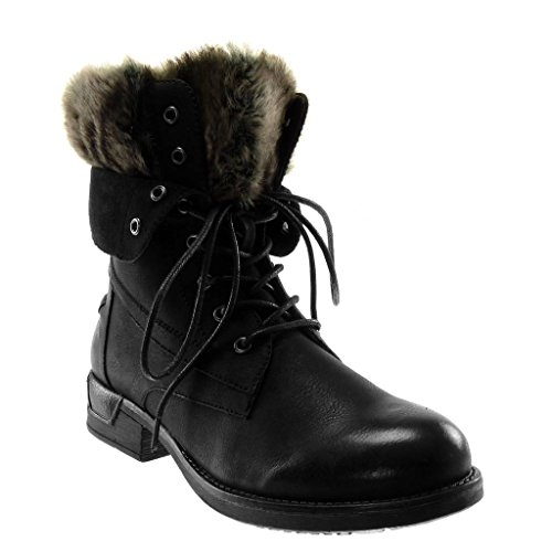 Ankle Finish Seams Boots Boots Heel Shoes Boots 3 Women's cm Booty Fur Combat Block Black Fashion Topstitching Angkorly Biker PwOxtCx