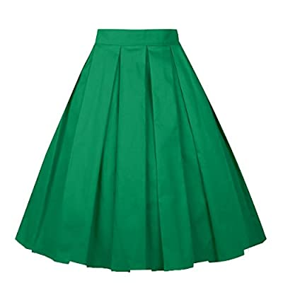 Girstunm Women's Pleated Vintage Skirt Floral Print A-line Midi Skirts with Pockets at Women's Clothing store