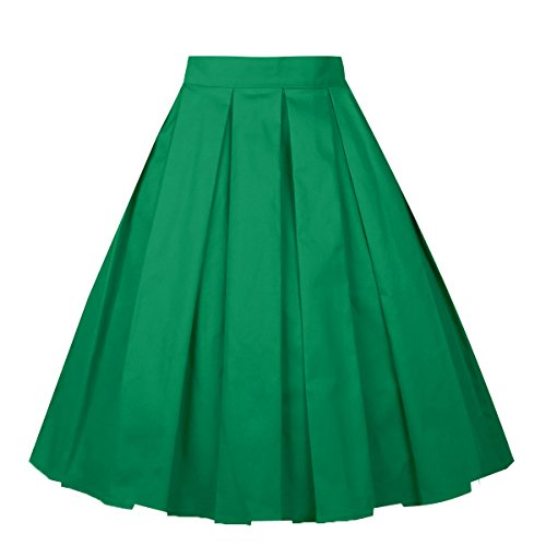 Floral Print Green (Girstunm Women's Pleated Vintage Skirt Floral Print A-line Midi Skirts with Pockets Green L)
