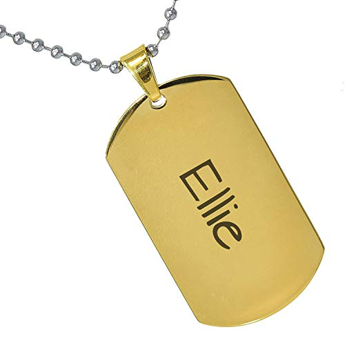 Tungsten King Stainless Steel Baby Name Ellie Engraved Gold Plated Gifts for Son Daughter Parent Friends Significant Other Initial Quote Customizable Pendant Necklace Dog Tags 24'' Ball Chain ()