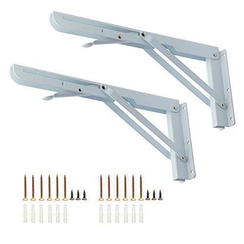 Folding Shelf Brackets 12 inch Ekatoo 2 Pcs Wall Mount Metal Folding Support Triangle Bench Table Fold Down Bracket with Screws - Max Load 125lb by Ekatoo