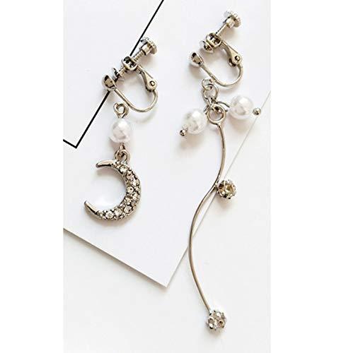 - Moon Pearl Earring Asymmetric Trend Curve Set Auger Space Time Metallic Line Moon Stud Earrings,Ear Clip1