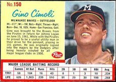 1962 post cereal (Baseball) Card# 150 gino cimoli of the Milwaukee Braves VG Condition