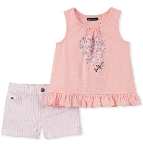 Tommy Hilfiger Girls' Little 2 Pieces Shorts Set, Rose/Stripes, 4 (Hilfiger Kids)