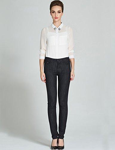 Camii Mia Pantalones Vaqueros Mujer Slim Jeans Elásticos Negro