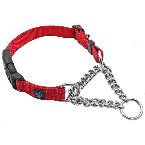 Max and Neo Stainless Steel Chain Martingale Collar - We Donate a Collar to a Dog Rescue for Every Collar Sold (Medium/Large, RED)