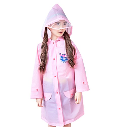 Price comparison product image Raincoat Rain Poncho Jacket Gear Wear Slicker Suit Cover Cloak Coverall for School Kids Girls Boys Child Cute Reusable Portable Breathable Summer with Hood Book bag cover (Pink, S (4-7 years old))