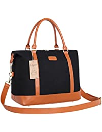 Travel Tote Bag Carry On Shoulder Bag Overnight Duffel in Trolley Handle (Black)