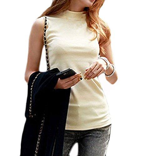 Women's Mock Turtleneck Fullback Sleeveless Shaping Tank Top Shirt Tops Apricot XX-Large