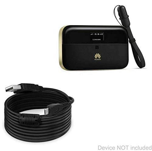 Huawei E5885 Ls-93a Mobile WiFi Hotspot Cable, BoxWave [DirectSync (15 ft) Cable] Extra Long Charge and Sync Cable for Huawei E5885 Ls-93a Mobile WiFi Hotspot - Black