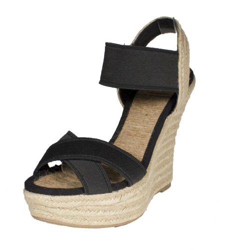 Moody! Womens Sandalo Zeppa In Pelle Con Zeppa E Incrocio In Nero