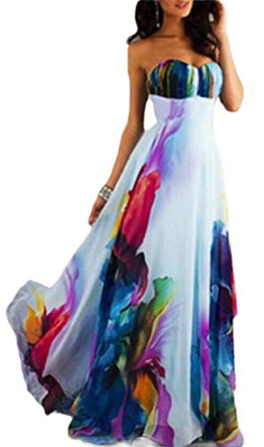 Printed Strapless Gown - HANA+DORA Women Ball Gown Floral Printed Backless Casual Strapless Long Maxi Dress M