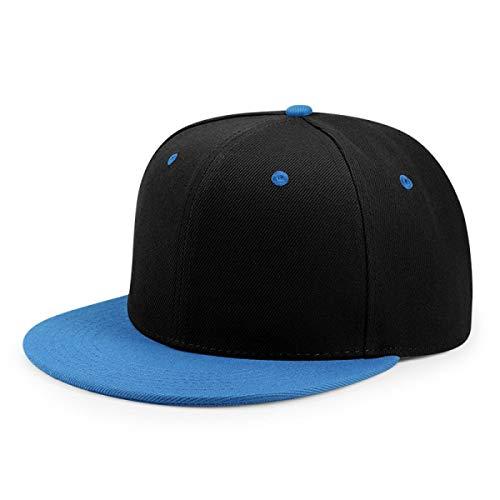 - WEEKEND SHOP Snapback hat Hip Hop Flat Peaked Cap Adult Solid Color Patched Baseball Hat Women and Men Logo Custom Plain Snapback Cap 33 Colos Blue Black