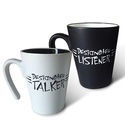 His and Hers couples coffee mug - Designated Talker/Designated Listener - A great gift for anniversaries, wedding and engagements and Valentine's Day, or just for the one you love! Set of 2 (Matching Mug Set)