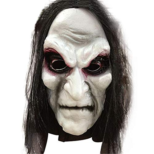 WEIZHUANGZHE Halloween Zombie Mask Props Grudge Ghost Hedging Zombie Mask Realistic Masquerade Halloween Mask Long Hair Ghost Scary Mask,Black