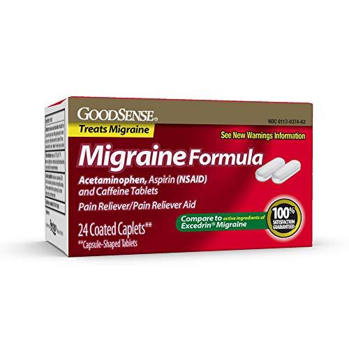 GoodSense Migraine Formula Caplets, Acetaminophen, Aspirin (NSAID) and Caffeine Tablets, Migraine Pain Relief, 24 count (Best Prescription Migraine Medication)