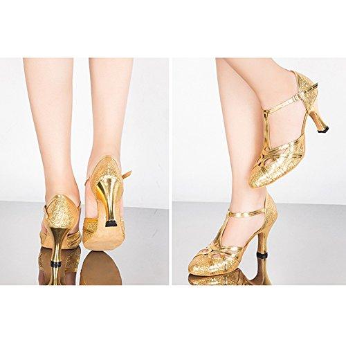 Lentejuelas talón Color Zapatos Fondo LIXIONG 5 Baile Silver 6cm 8cm Moda Tamaño Latino Medio EU33 UK2 215 de 6 Goma Mujer Altura de Colores 2 del talón Suave 6cm Gold de Zapatos Baile wgqzRgZI