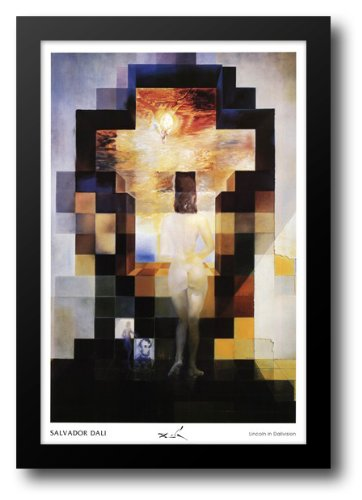 Salvador Dali Portrait - Gala Contemplating the Mediterranean Sea Which at Twenty Meters Becomes the Portrait of Abraham Lincoln, c.1976 28x40 Framed Art Print by Dali, Salvador