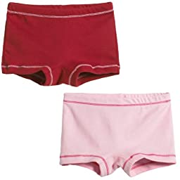 City Threads Girls\' 2-Pack BoyShorts Perfect for Sensitive Skin SPD Sensory Friendly Clothing For School Play and Under Dresses Bike and Dance Shorts Perfect for Sensitive Skin SPD Sensory Friendly Clothing For School Play and Under Dresses, Red/Pink-3T