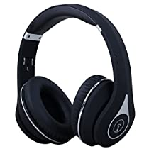 August EP640 - Bluetooth Wireless Stereo NFC Headphones - Over Ear Cordless Headphones with 3.5mm Wired Audio In, Rechargeable Battery, NFC Tap To Connect and built-in Microphone - Compatible with Cell Phones, Smartphones, Laptops, Tablets