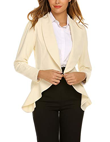 Beyove Women's 3 4/Long Sleeve Lightweight Open Front Cardigan Blazer -