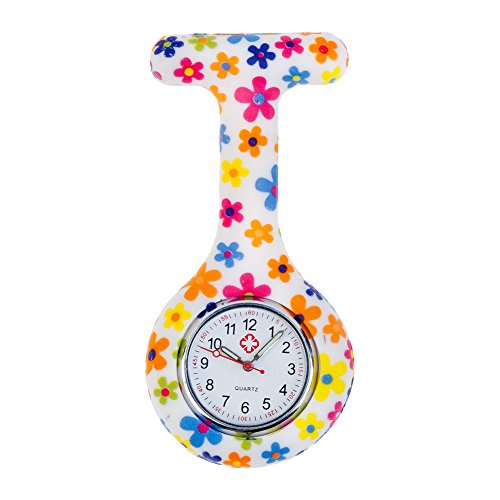 Cute High Quality Brooch / Fob Watch For Health Care Workers, Nurses And Doctors In White Silicone Hygienic Protection Cover For Infections Control With Flowers Patterns / Designs In Many Colors By VAGA
