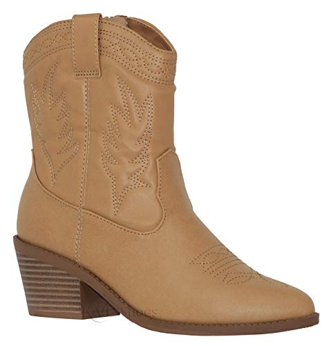 (MVE Shoes Women's Cowgirl Style Low Heel Mid Calf Boots, Picotee Blond PU 8)