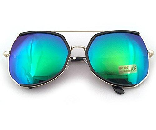 Heartisan Oversized Polygon Frame Color Reflective Lens Vintage Sunglasses C7
