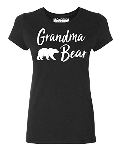 Promotion & Beyond Grandma Bear Text Funny Gift Women's T-Shirt, L, Black (Bear Womens Cut T-shirt)