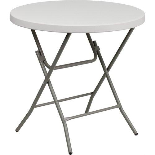 Flash Furniture 32'' Round Granite White Plastic Folding ()