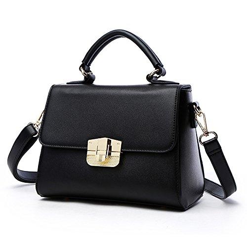 Mefly Nuevo portátil Bolso Satchel Bag caqui black
