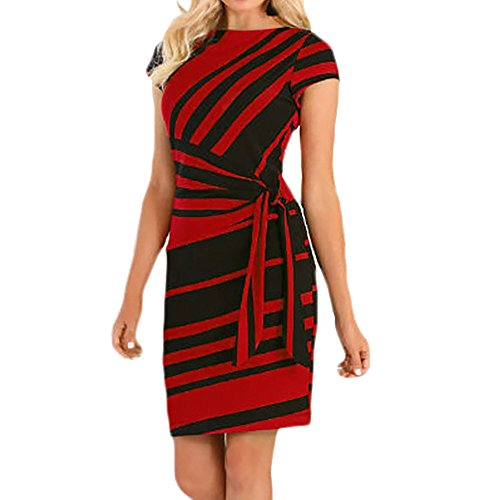 BODOAO Women's Dress Working Dresses Pencil Stripe Party Dress Casual Mini Dresses Red