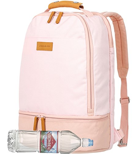 Everyday Laptop School Backpack for Girls, AMBER & ASH Business Anti Theft Slim Durable Backpack,Water Resistant College School Computer Bag for Women Fits 15.6 Inch Laptop Notebook [Pink] (Camera Mesh)