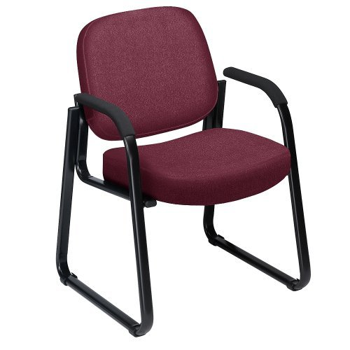 OFM 400 Series Plush Sled Base Wine Fabric Guest Chair with Black Frame (Plush Reception Chair)