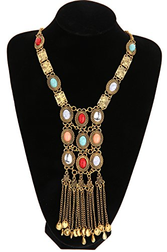 Antique Style Pendant Necklace (Miraculous Garden Womens Vintage Alloy Silver/Gold Long Ethnic Tribal Boho Beads Coin Fringe Necklace Bohemia Style (Antique Gold))