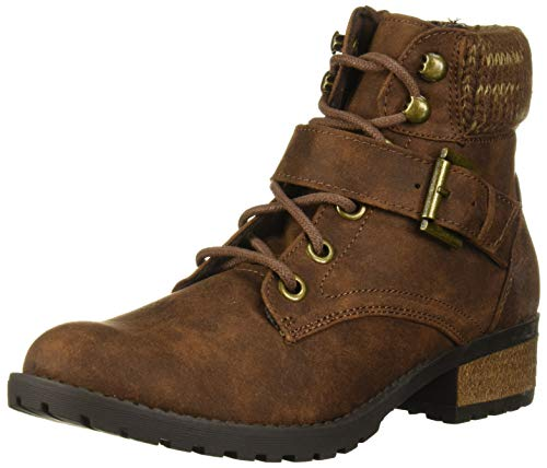 Skechers Women's Dome-Mid Lace Up with Sweater Collar Boot with Strap Fashion, Brown, 6 M US