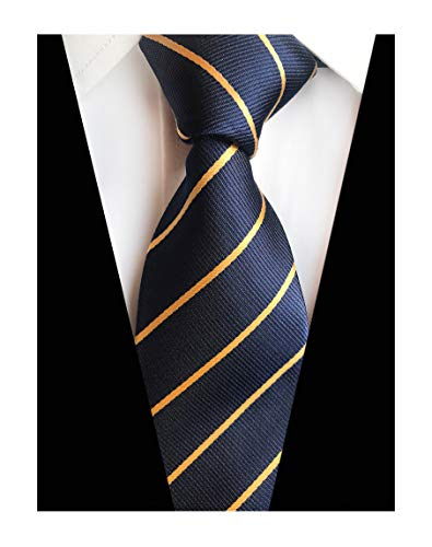 Men Navy Blue Yellow Preppy Tie Woven Casual Stylish Necktie Nice Presents Ideal