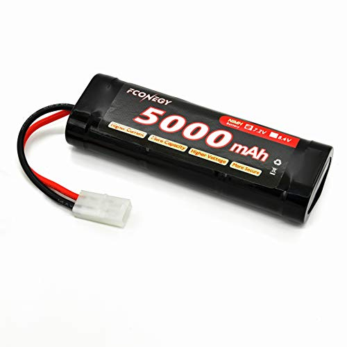 FCONEGY NiMH Battery 5000mAh 7.2V Flat Pack withTamiya Plug for RC Cars, RC Truck RC Hobby 5000 Mah Nimh Flat
