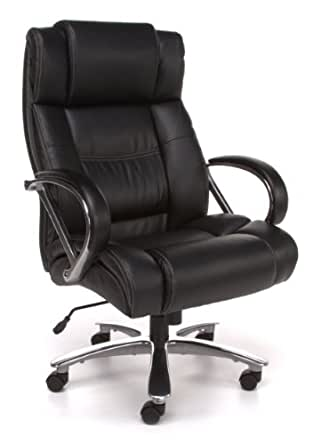 OFM Avenger Series Big and Tall Leather Executive Chair - Computer Chair with Arms, Black/Chrome (810-LX)