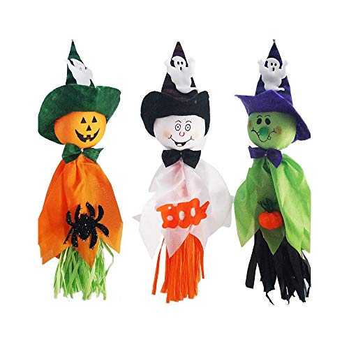 QTFHR Halloween Hanging Ghost Prop Scary Decor 3 Colors Design Halloween Ghost Decorations Outdoor Indoor Bar Party Background Decoration (3 Pcs) (35 16)