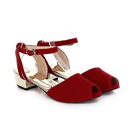 vestir Rojo de Sólido Sandalias Tacón Mujeres Mini AllhqFashion Peep Hebilla 8nqHPzw0